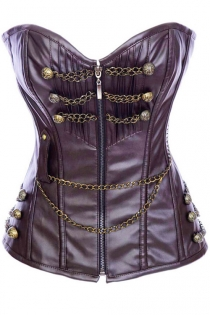 Steampunk Aubergine Leather-feel Corset With Brass Button and Chain Detail, Front Zipper Closure