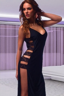 Seductive Black Maxi Gown With Side-Baring Lace and Plunging Neckline