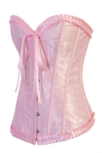 Baby Pink Satin Floral Brocade Structured Corset Wih Metal Busl Front Closure and Satin Ribbons Back Lace Up