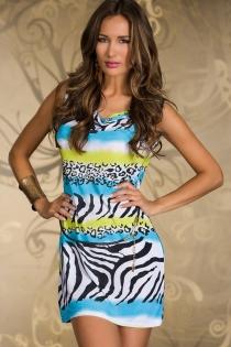 Sleeveless Mini Dress With Blue, Yellow, and Black Zebra Print, and Black Belt