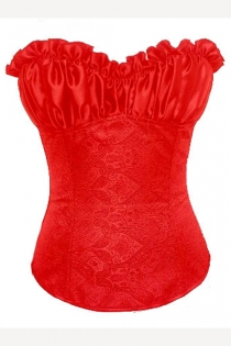 Poincetia Red Satin Corset With Satin Bodice and Embosed Floral Designed Body