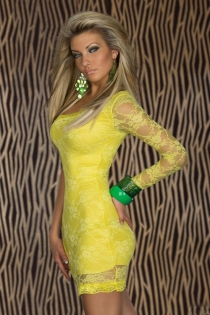 Neon Yellow One-Shoulder Lace Bodycon Clubwear Mini Dress With Sexy Semi-Sheer Arm