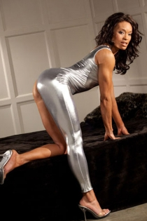 Shimmering Silver Bodysuit With One Shoulder and Corresponding Long Tight Pant Leg