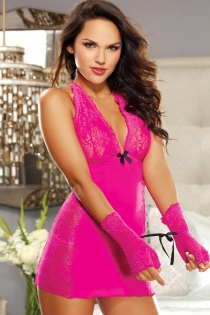 Flirtatious Fuchsia Gauzy With Floral Lace Cup and Halter Top Neckline Bodice