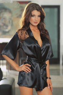 Solid Black Satin Robe With Pagoda Sleeves, Black Floral Print Lace Shoulders, and Satin Ribbon Tie in Front