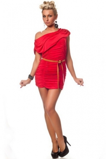 Red Mini Dress With Ruched Bodice, Off-shoulder Foldover Neckline and Camel Belt