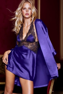 Vibrantly Fascinating Purple Shade Robe With Sheer Black Mid Body Halter Top Style