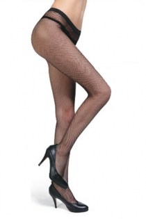 Black Full-Length Fishnet Style Stockings With Seamless Design and Solid Black Trim on Waistline