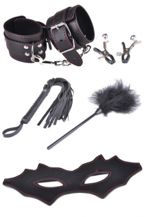 Black BDSM Props Including Bat Mask, Tickler, Whip, Handcuffs, and Nipple Clamps