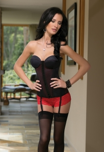 Sheer Black Overbust Corset With Fitted Bust, Red Bottom Layer, Garters, and Red Ribbon Lace-up Back