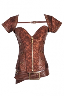 Beautiful Steampunk Leather and Cloth Corset Top With Front Zipper & Buckles