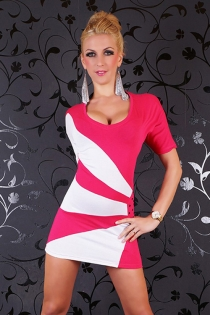 Sexy Club Mini Dress With Half Sleeve and Has White Design Accents in Front