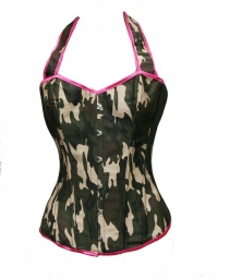 Fashional Camo Green Boned Corset with Back Lace-up and Halter Neck