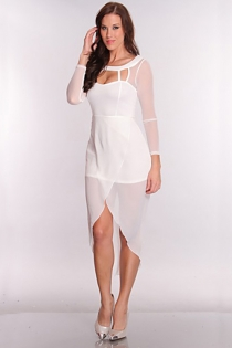 Gorgeous White Long Dress with Low & High Hem and Cutout Back