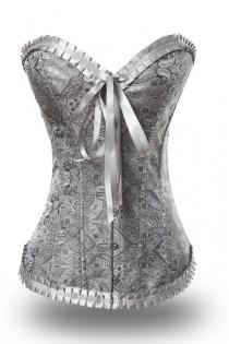 Romantic Grey Waist Cincher Boned Corset With Satin Brocade