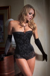 Fetish Brocade Overbust Boned Corset with Front Busk Closure and Trimed Detail