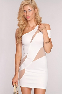 Sexy  Mesh Club Mini Dressn with One Shoulder Design