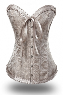 Apricot Passion Waist Cincher Boned Corset With Satin Brocade