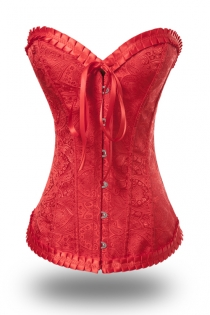Hot Red Waist Cincher Boned Corset With Satin Brocade