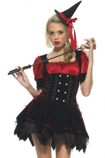 Cute Witch Costume with Ruffled Skirt, Puffy Shirt, Corset, Hat, & Sexy Broom