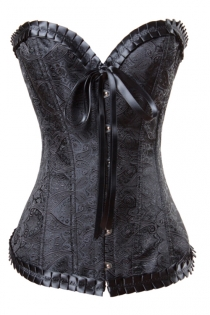 Elegant Black Waist Cincher Boned Corset With Satin Brocade