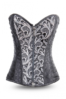 Sexy Steel Boned Corset with Zipper on the Front and Back Lace-up