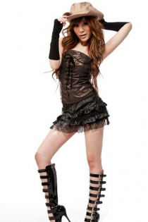 Seductive Cowgirl Costume with Ruffled Skirt