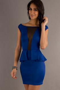 Royal Blue Club Dress with Ruffled Embellishment & Transparent Panel