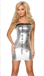 Enchanting Silver Shining Mini Dress with Credit Card Print