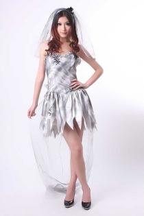Fancy Zombie Bride Wedding Costume Dress