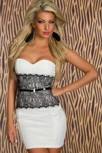 Stylish White Club Dress with Lace Overlay and Matching Belt