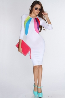 Gorgeous Full Length Club Dress with Colorful Necline