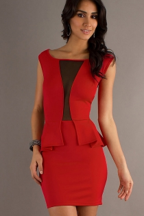Hot Red Club Dress with Ruffled Embellishment & Transparent Panel