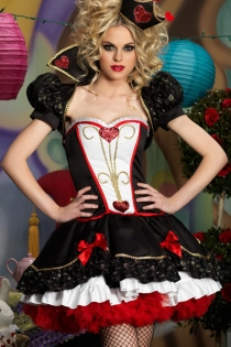 Sexy Queen of Hearts Costume with  Lacy Accents