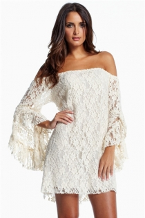 Seductive Lacy Off-shoulder Club Dress with Flared Sleeves