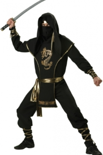 Ninja Warrior Costume with Dragon Print & Stealthy Hood