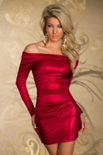 Elegant Rose Red Off Shoulder Club Dress