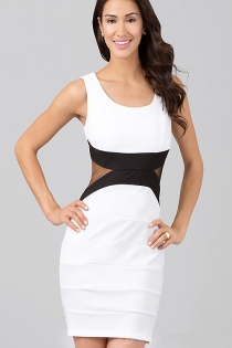 Gorgeous Figure-hugging White Club Dress with Back Zipper