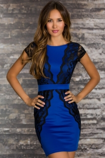 Elegant Sheath Style Blue Club Dress with Lacy Overlay