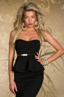Simply Elegant Black Tube Club Dress with Matching Belt