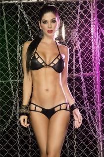 Exotic Dance Wear Bra Set with Strappy Design