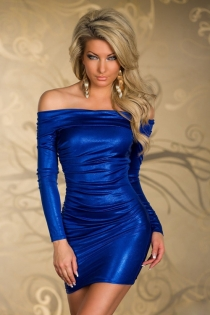 Elegant Royal Blue Off Shoulder Club Dress