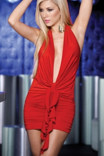 Hot Red Deep Low Cut Mini Club Dress with Front Tie and Halter Neck