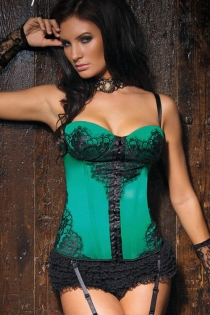 Seductive  Emerald Overbust Corset with Front Lace Overlayv