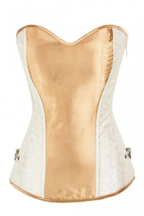 Marvellous White Boned Corset with Brown Panel