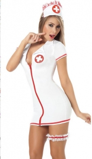 Naughty Nurse Costume Dress with Short Sleeves and Convenient Zipper Front