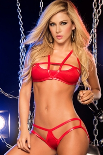 Erotic Red Vinyl Bra Set with Peek a Boo Panty, Straps