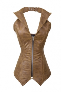 Slinky Brown Leather-like Overbust Corset with Windbreaker Collar, Lace-up Back