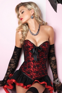 Stylish & Gorgeous Overbust Corset with Lacy overlay without Bow matching skirt