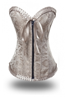 Luxuriously Hot Champagne-Coloured Corset with Classic Tie Laces